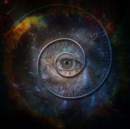 Time spiral and eye in space. 3D rendering