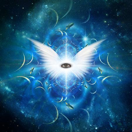 Winged eye of God. 3D rendering