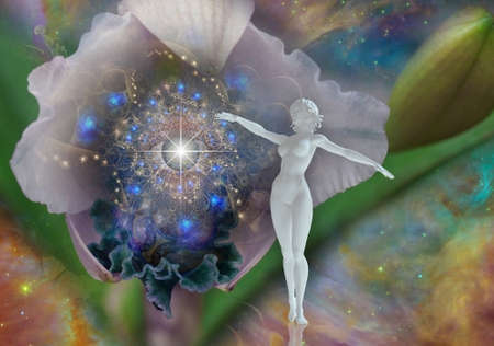 Surreal scene with flower and space. White statue of woman. 3D rendering