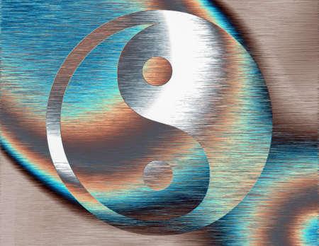 Yin yang. Modern design. 3D rendering.