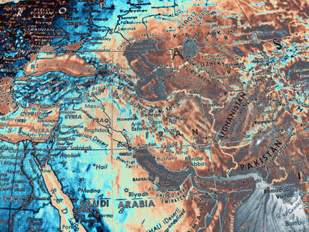 Middle East map painting. 3D rendering.