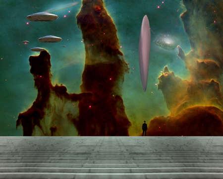 Flying saucers and huge UFO. 3D rendering Banco de Imagens