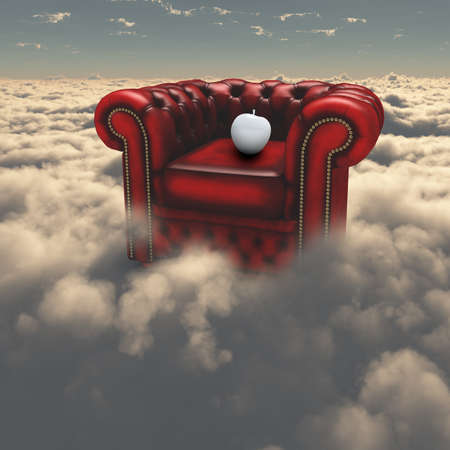 Armchair and white apple in the sky. 3D rendering. Banco de Imagens