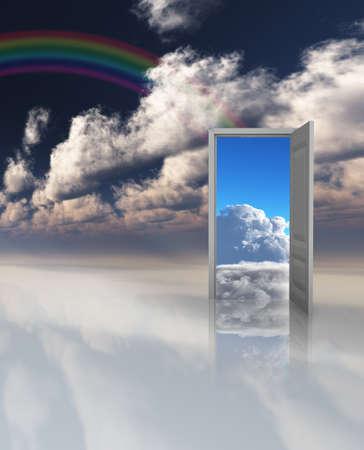 Door to another world. 3D rendering.