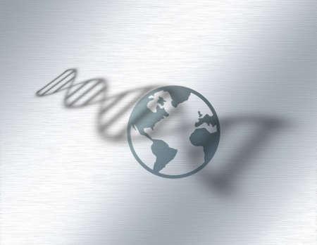 World genetic DNA. 3D rendering.