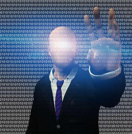 Businessman on binary code matrix. 3D rendering.