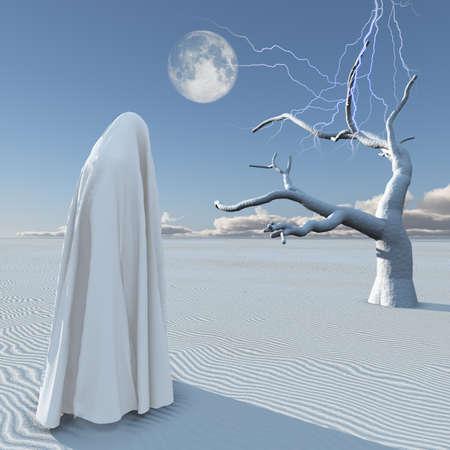 Desert of silence. Figure under white cloth stands in surreal landscape. 3D rendering. Banco de Imagens