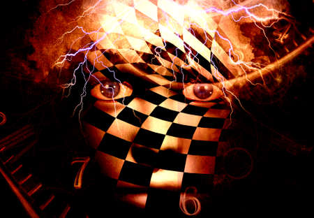 Surrealism. Womans face with checkered pattern. Spirals of time. 3D rendering. Banco de Imagens