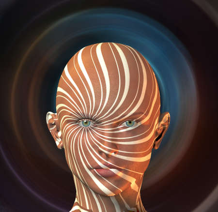 Woman with swirling radial rays face. 3D rendering.