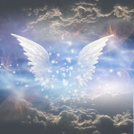 Angels wings. Spiritual composition. 3D rendering.