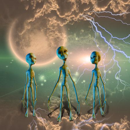 Three aliens in clouds. Sci-fi composition. 3D rendering. Banco de Imagens
