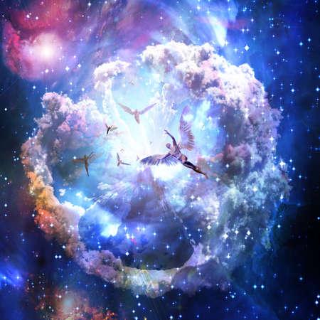 Angels in vivid space. 3D rendering. Banco de Imagens