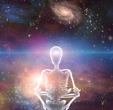 Meditation. Skeleton in lotus pose in vivid space. 3D rendering.