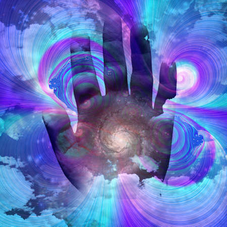 Human palm and galaxy. 3D rendering.