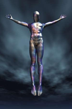 Droid ascension in dramatic sky. 3D rendering. Banco de Imagens