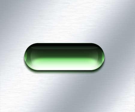 Oval green button. Modern digital art. 3D rendering Banco de Imagens