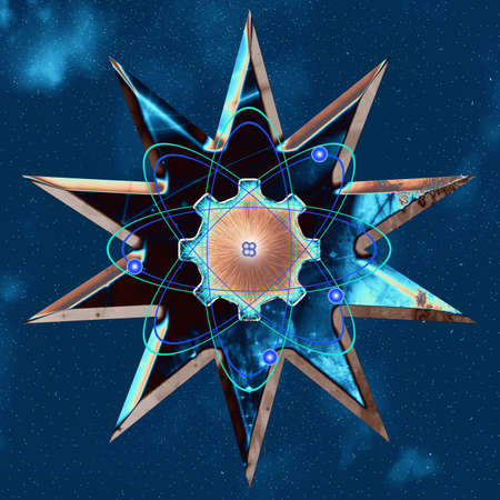 Gear and atom on ten pointed star background. 3D rendering.