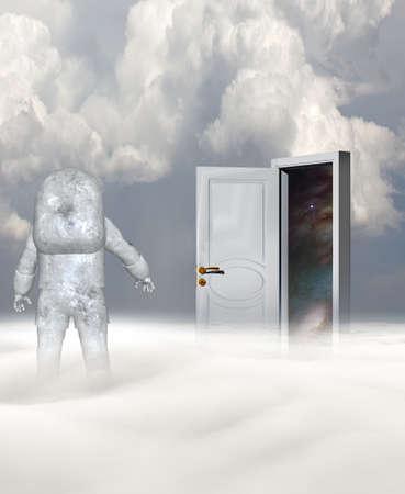 Astronaut in strange planet and mysterious door. 3d rendering. Banco de Imagens