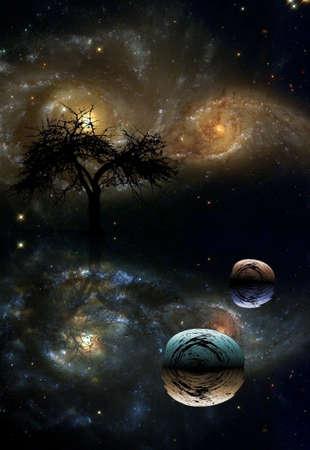 Tree in space. 3D rendering.