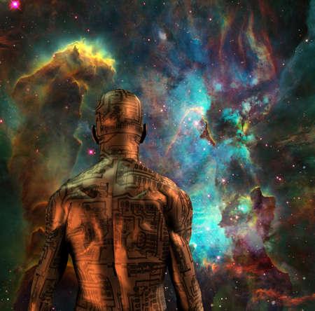 Cyborg in vivid space. 3d rendering.