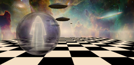Holy man and UFOs in surreal landscape. 3d rendering.