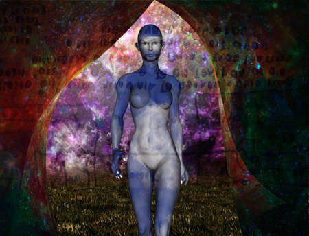 Woman emerges from vivid space. 3d rendering.