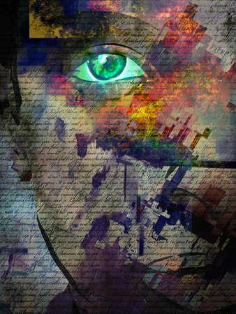 Woman portrait. Modern digital art. 3d rendering.