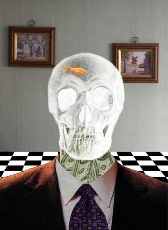 Crystal skull with dollars around neck. 3d rendering. Banco de Imagens