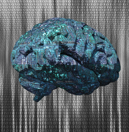 Brain with circuit pattern on binary code background. 3d rendering.