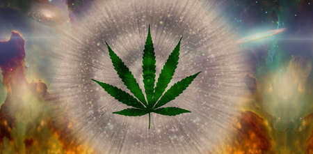 Marijuana leaf in vivid space background. 3d rendering.