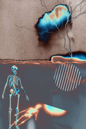 Skeleton on abstract painting. Modern digital art. 3D rendering Banco de Imagens