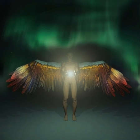 Angel with colorful wings holds light. 3D rendering Banco de Imagens