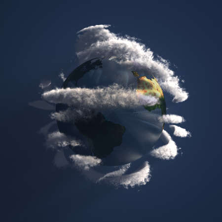 Planet Earth with clouds. 3D rendering Banco de Imagens