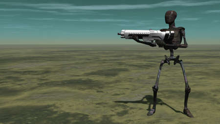 Cyborg with gun. Sci-fi composition. 3D rendering Banco de Imagens