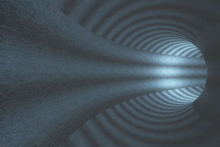 Abstract tunnel with blue walls. 3D rendering Banco de Imagens