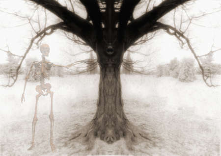 Afterlife. Skeleton and symmetrical tree branches. 3D rendering