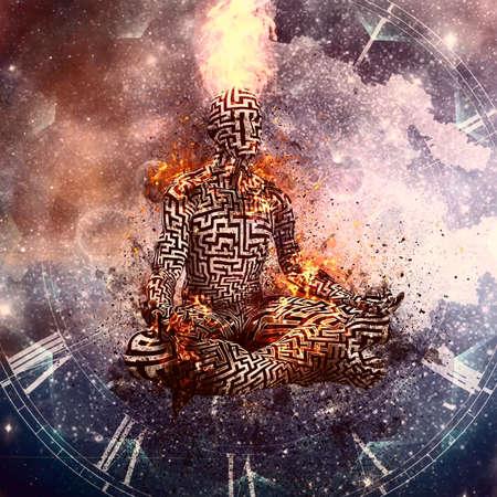 Flaming meditation. Man in lotus pose. 3D rendering. Banco de Imagens
