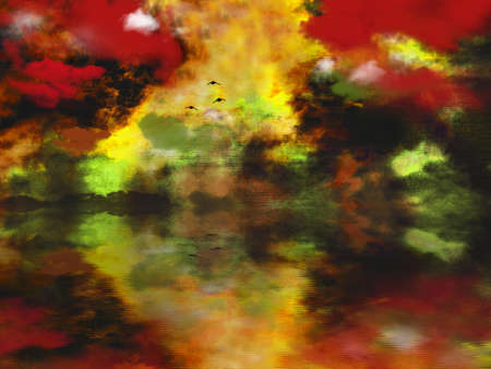 Mystic sunset. Abstracted landscape painting. 3D rendering Banco de Imagens