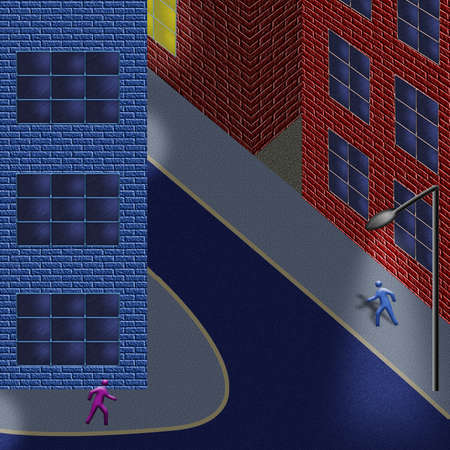 Urban landscape. Buildings with brick walls and people on the street. 3D rendering