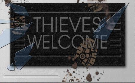 Thieves Welcome doormat. 3D rendering