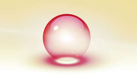 Pink glass ball isolated on white. 3d rendering.