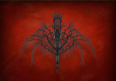 Abstract nature. Surreal symmetrical tree on abstract background. 3D rendering. Banco de Imagens