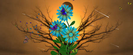 Wildflowers and butterflies. Symmetrical tree branches. 3D Rendering Banco de Imagens