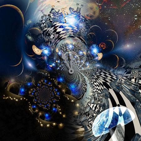 Surreal dream. Clock face and hallucinogenic mushroom. 3D rendering.
