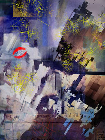 Abstract colorful painting. Oil on canvas. 3D rendering Banco de Imagens