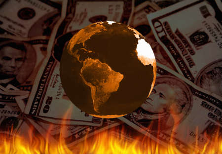 Planet Earth, fire and US dollars. 3D rendering. Banco de Imagens