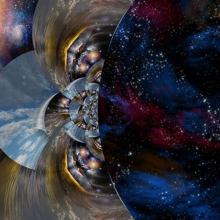 Merging sky. Surreal composition. 3D rendering. Banco de Imagens
