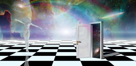 Dancer and mysterious door in checkered landscape. 3D rendering.