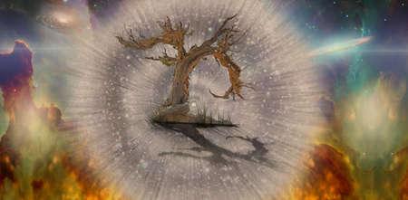 Old tree in space. 3D rendering. Banco de Imagens