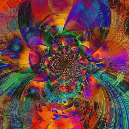 Abstract painting. Mirrored round fractal. 3D rendering.